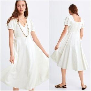 Zara puff sleeve linen blend midi dress